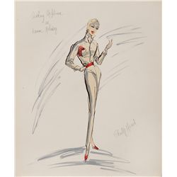 EDITH HEAD COSTUME SKETCH OF AUDREY HEPBURN FROM ROMAN HOLIDAY