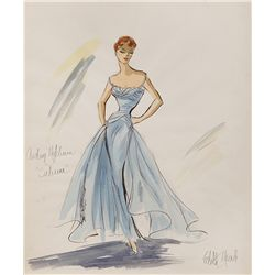 EDITH HEAD COSTUME SKETCH OF AUDREY HEPBURN SABRINA