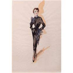PAIR OF EDITH HEAD COSTUME SKETCHES FOR JANE WYMAN FROM LUCY GALLANT