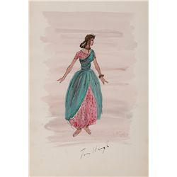 TOM KEOGH COSTUME SKETCH OF HAREM-GIRL FOR KISMET