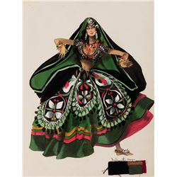 TONY DUQUETTE (STUDIO) COSTUME SKETCH OF HAREM-GIRL FOR KISMET