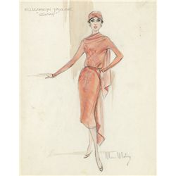 MOSS MABRY COSTUME SKETCH FOR ELIZABETH TAYLOR IN GIANT