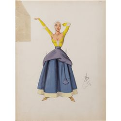 MARY GRANT COSTUME SKETCHES FOR RITA MORENO FROM THE VAGABOND KING