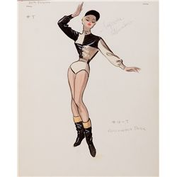 EDITH HEAD COSTUME SKETCH FOR ANITA EKBERG FROM HOLLYWOOD OR BUST