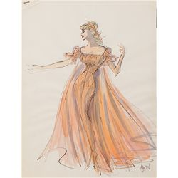 EDITH HEAD COSTUME SKETCH FOR ANITA EKBERG FROM WAR AND PEACE