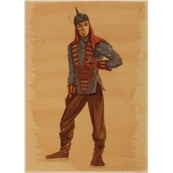 JOHN WAYNE COSTUME SKETCH FROM THE CONQUEROR