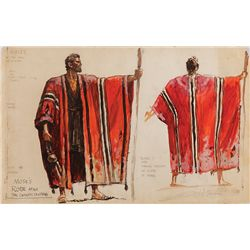 JOHN JENSEN COSTUME SKETCH FOR MOSES' ROBE FROM THE TEN COMMANDMENTS