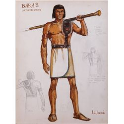 "JOHN JENSEN COSTUME SKETCH FOR ""BAKA'S LITTER BEARER"" FROM THE TEN COMMANDMENTS"