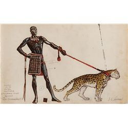 JOHN JENSEN COSTUME SKETCH FOR ETHIOPIAN KING'S LEOPARD KEEPER FOR THE TEN COMMANDMENTS