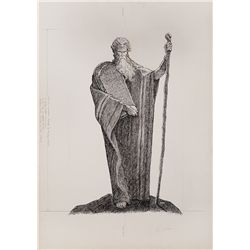 JOHN JENSEN PEN & INK PORTRAIT OF MOSES FOR THE TEN COMMANDMENTS