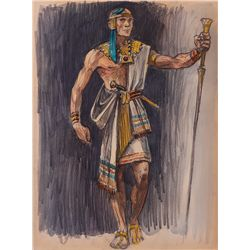 JOHN JENSEN COSTUME SKETCH FOR EGYPTIAN FROM THE TEN COMMANDMENTS