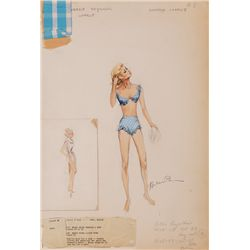 HELEN ROSE COSTUME SKETCH FOR DEBBIE REYNOLDS FROM GOODBYE CHARLIE