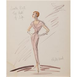EDITH HEAD COSTUME SKETCH OF LUCILLE BALL FROM THE FACTS OF LIFE COSTUME SKETCH