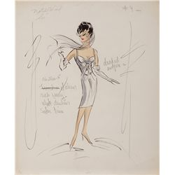 EDITH HEAD COSTUME SKETCH FOR NATALIE WOOD IN SEX AND THE SINGLE GIRL