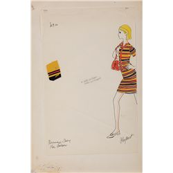 ANTHEA SYLBERT COSTUME SKETCH OF STRIPED MINI-DRESS FOR MIA FARROW IN ROSEMARY'S BABY