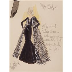 EDITH HEAD COSTUME SKETCH FOR MAE WEST FROM MYRA BRECKENRIDGE
