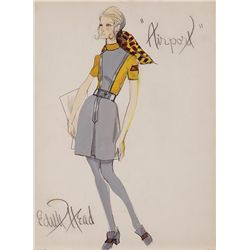 EDITH HEAD COSTUME SKETCH OF FLIGHT ATTENDANT FROM AIRPORT