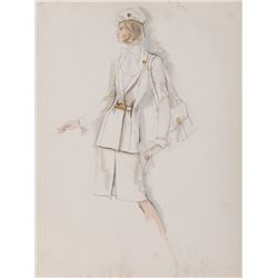 EDITH HEAD UNIFORM SKETCH FOR 1970'S PAN-AM STEWARDESS