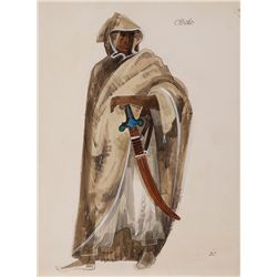 DOROTHY JEAKINS COSTUME SKETCH OF JAMES EARL JONES FOR STAGE PRODUCTION OF OTHELLO
