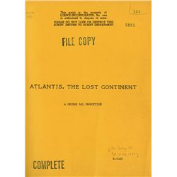 GEORGE PAL ATLANTIS: THE LOST CONTINENT SCRIPT