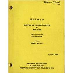 ADAM WEST'S PERSONALLY ANNOTATED BATMAN TV SCRIPT WITH TWO CALL SHEETS