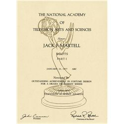 ROOTS JACK MARTEL COLLECTION OF BACKGROUND MATERIAL, SCRIPTS AND EMMY NOMINATION