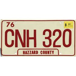 "ORIGINAL GENERAL LEE ""HAZZARD COUNTY"" LICENSE PLATE FROM THE DUKES OF HAZZARD"