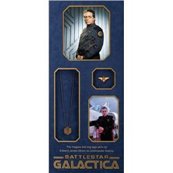 "BATTLESTAR GALACTICA EDWARD JAMES OLMOS ""ADMIRAL WILLIAM ADAMA"" HERO DOG TAGS & PIN & SIGNED PHOTO"