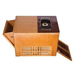 BLOND-WOOD CABINET ZENITH HOME ENTERTAINMENT SYSTEM WITH SWING-OUT TURNTABLE