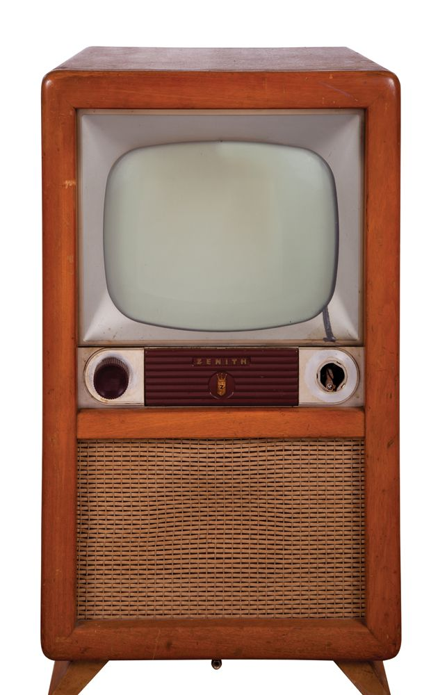 Vintage zenith blonde cabinet with console tv
