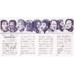 "PRINTED LITHOGRAPH OF SHEET MUSIC FOR ""WE ARE THE WORLD"" SIGNED BY PERFORMERS"