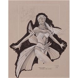 "PATRICK TATOPOLOUS THE BODYGUARD COSTUME SKETCH FOR WHITNEY HOUSTON ""QUEEN OF THE NIGHT"""
