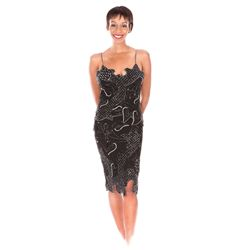 WHITNEY HOUSTON CUSTOM FABRICE SIMON HAND-BEADED GOWN WORN AT THE 1988 GRAMMY AWARDS