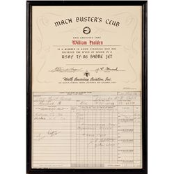 WILLIAM HOLDEN MACH BUSTER/'CLUBO CERTIFICATE AND FLIGHT REPORT