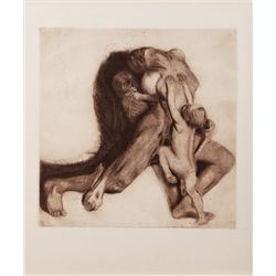 "KATHE KOLLWITZ ""DEATH AND THE WOMAN"" (TOD UND FRAU) LITHOGRAPH"