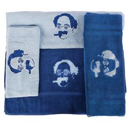 (4) GROUCH MARX BATH TOWELS WITH HIS EMBROIDERED LIKENESS
