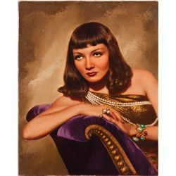 CLEOPATRA SPECIAL PROMOTIONAL OIL-PAINTING OVER PHOTO OF CLAUDETTE COLBERT BY E. SCHUESSLER
