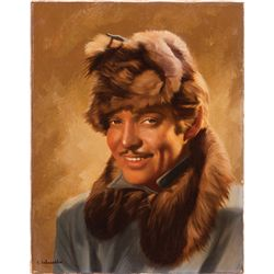 CALL OF THE WILD SPECIAL PROMOTIONAL OIL-PAINTING OVER PHOTO OF CLARK GABLE BY E. SCHUESSLER