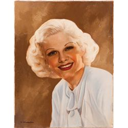 JEAN HARLOW SPECIAL PROMOTIONAL OIL-PAINTING OVER PHOTO BY E. SCHUESSLER