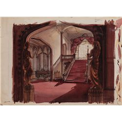 DOROTHEA HOLT SET-CONCEPT PAINTING OF ATLANTA HOME OF RHETT AND SCARLETT FROM GONE WITH THE WIND