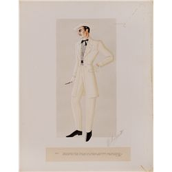 "WALTER PLUNKETT COSTUME SKETCH OF CLARK GABLE AS ""RHETT BUTLER"" IN GONE WITH THE WIND"