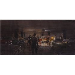WEST SIDE STORY UNATTRIBUTED SCENE CONCEPT PAINTING OF JETS/ SHARKS CONFRONTATION