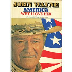 "JOHN WAYNE SIGNED ""AMERICA WHY I LOVE HER"" BOOK AND HAND WRITTEN POST CARD FROM JAPAN"