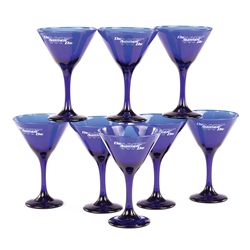 "DIE ANOTHER DAY SET OF (8) SPECIAL TITLE-ETCHED PREMIERE-ONLY ""SWAG"" BLUE MARTINI GLASSES"