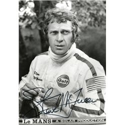 STEVE MCQUEEN SIGNED PUBLICITY PHOTO FROM LE MANS