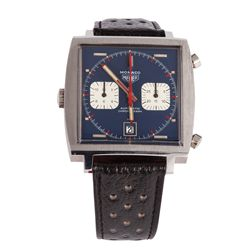 "STEVE MCQUEEN HERO ""MICHAEL DELANEY"" HEUER MONACO WRISTWATCH SCREEN-WORN IN LE MANS"