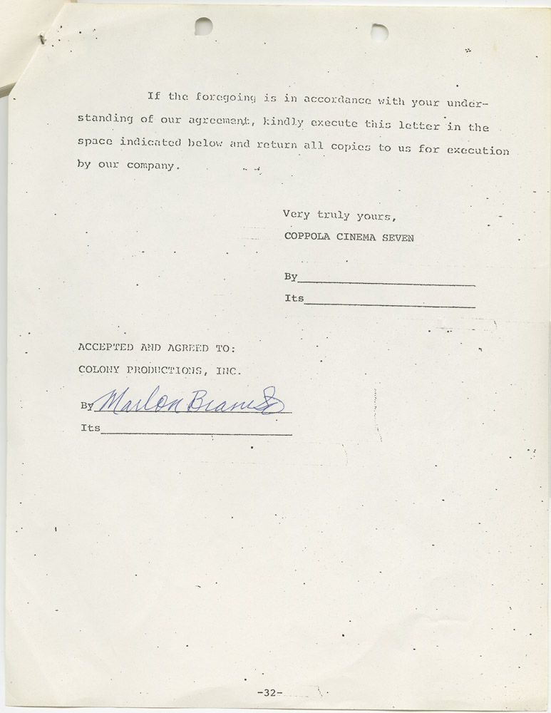 Marlon Brando Signed Employment Contract For Apocalypse Now