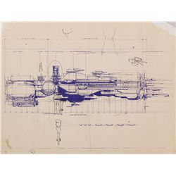 (2) ALIENS PRODUCTION BLUEPRINTS OF THE SULACO WITH HAND-ANNOTATIONS BY F/X CREW