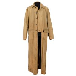 "CHRISTOPHER LLOYD ""DOC BROWN"" TRENCH COAT DUSTER FROM BACK TO THE FUTURE III"