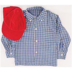 "HALEY JOEL OSMENT ""LITTLE FORREST"" CHECKER-PATTERN LNG-SLEEVE SHIRT & BASEBALL CAP FROM FORREST GUMP"